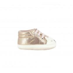 Zapatillas deporte Chicco rosas brillantes con cordones elásticos y animal - Querol online