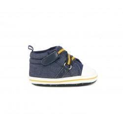 Zapatillas Chicco azules tejano con tiras cruzadas y detalles amarillos - Querol online