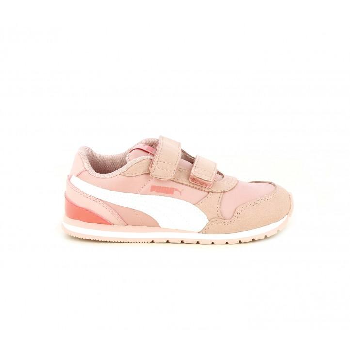 Zapatillas deporte Puma con contrafuerte en charol rosa - Querol online