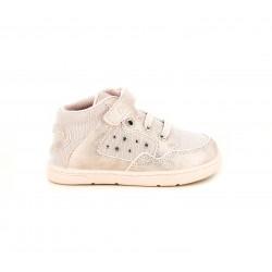 Zapatos abotinados Chicco rosas de tela brillante y detalles de pedreria - Querol online