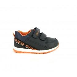Zapatillas deporte Chicco negras con detalles en naranja y doble velcro - Querol online