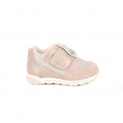 Zapatillas deporte Chicco rosas de tela brillante con gatito - Querol online