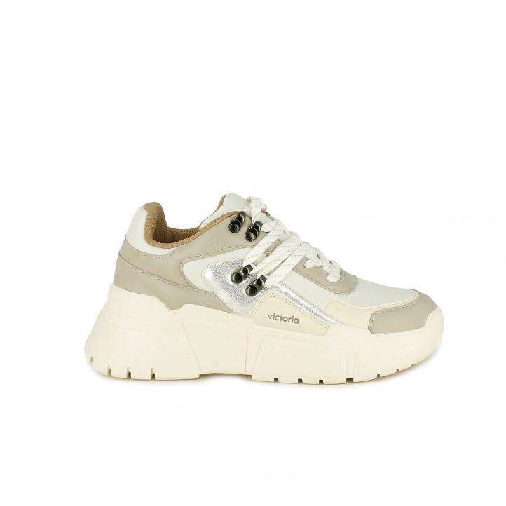 Zapatillas deportivas Victoria sneakers con estilo montaña en tonos crema - Querol online
