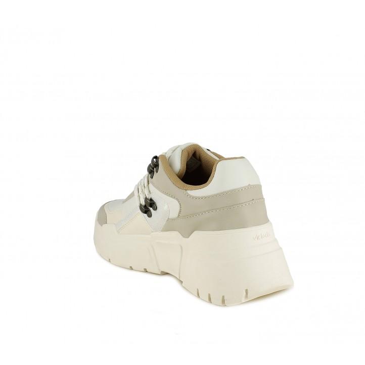 Sabatilles esportives Victoria sneakers amb estil muntanya en tons crema - Querol online