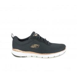 Zapatillas deportivas Skechers negra con cordones y textura entrelazada con plantilla memory foam - Querol online