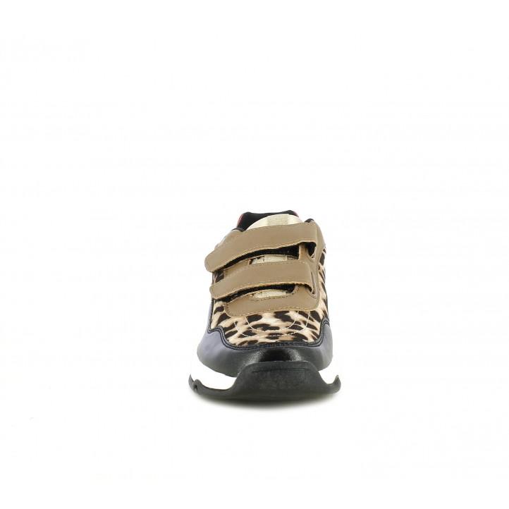 Zapatillas deporte Victoria combinado en materiales metalizados y estampado animal - Querol online