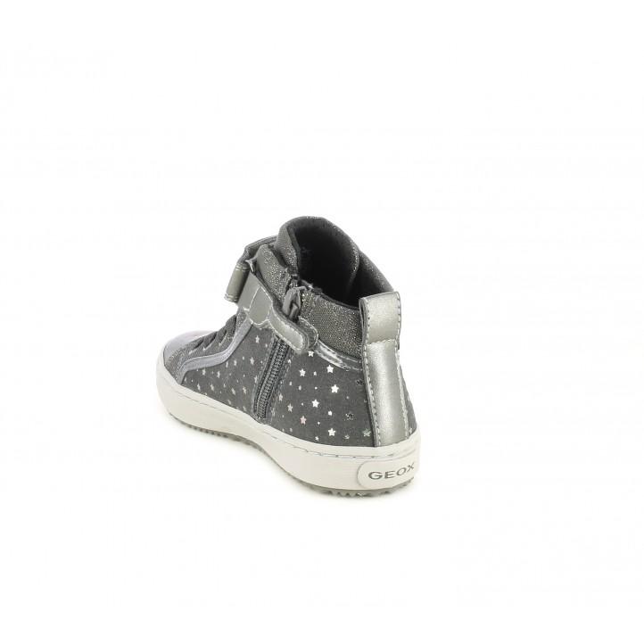 Botines Geox gris con estrellas plateadas cordón elástico y velcro plantilla desmontable - Querol online