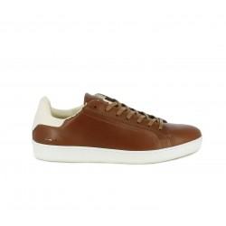 Zapatos sport Le Coq Sportif marrones de piel con cordones y detalles en blanco - Querol online