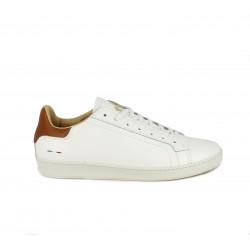 Zapatos sport Le Coq Sportif blancos de piel con cordones y detalles en marron - Querol online