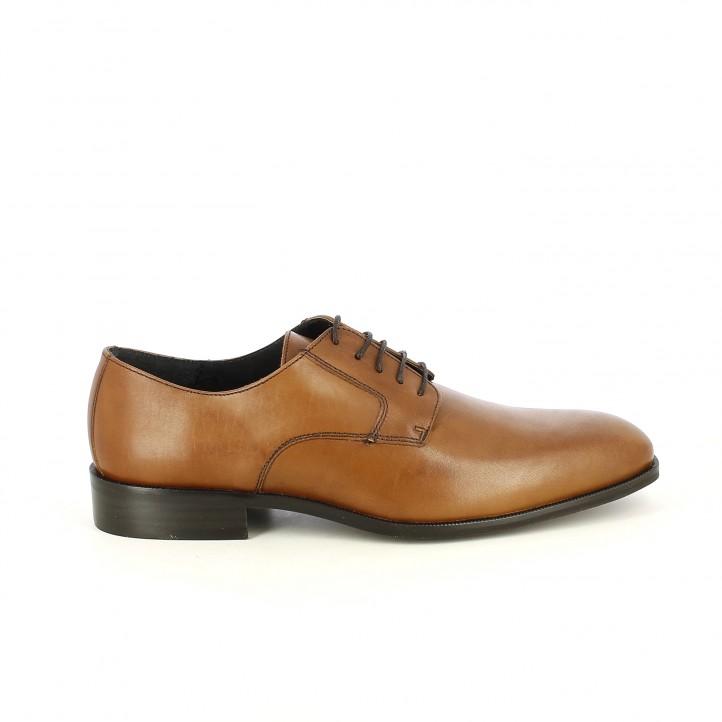 Zapatos vestir BE COOL bluchers marrones de piel con cordones - Querol online