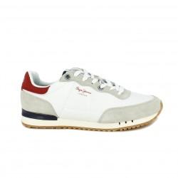 Zapatillas deportivas PEPE JEANS blancas y detalles rojos - Querol online
