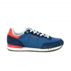 Zapatillas deportivas PEPE JEANS azul eléctrico y detalles rojos - Querol online