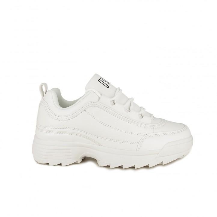 Zapatillas deportivas Owel blancas con plataforma, cordones y suela dentada - Querol online
