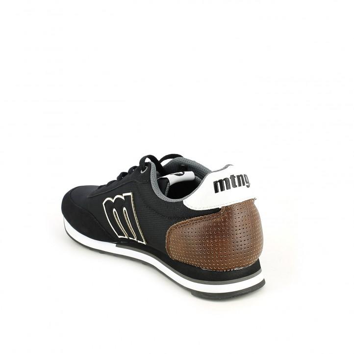 Zapatillas deportivas Mustang negras con detalle trasero marrón - Querol online