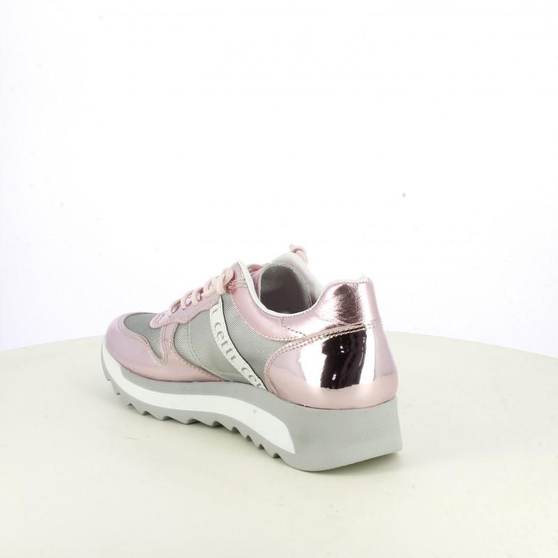 Zapatillas deportivas Cetti rosas de piel y charol con cordones elásticos