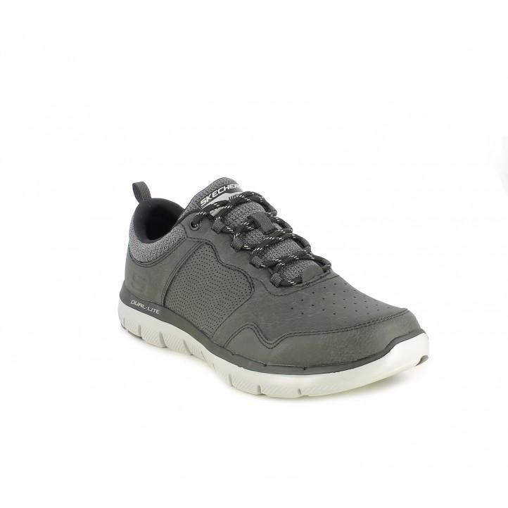 Zapatos sport Skechers negros con cordones y plantillas memory foam - Querol online