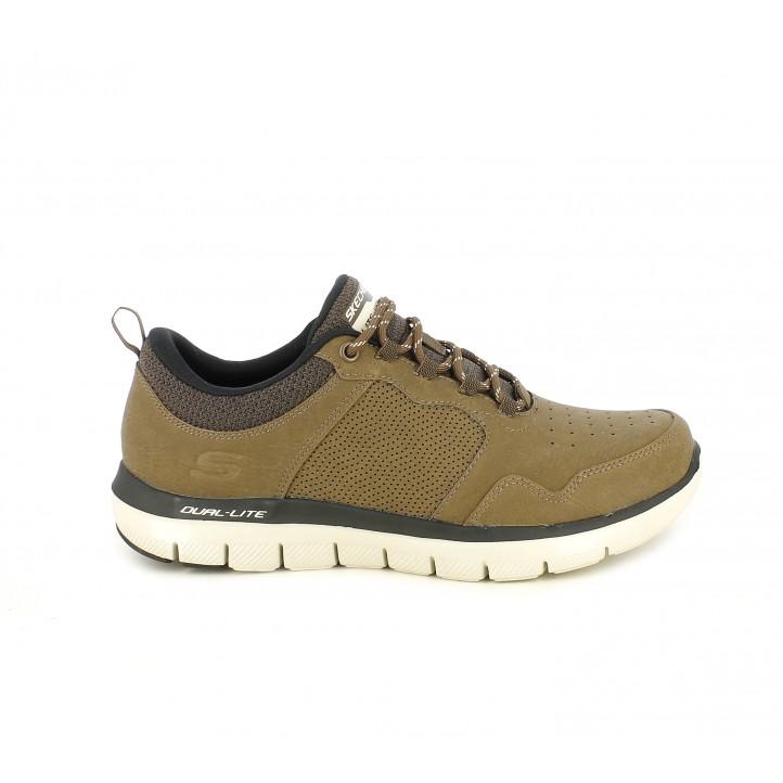 Zapatos sport Skechers marrones con cordones y plantillas memory foam - Querol online