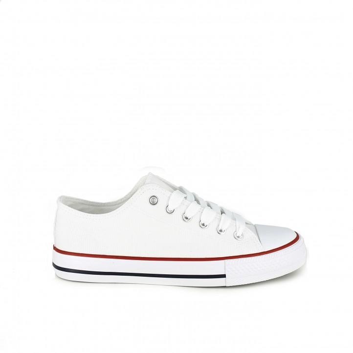Zapatillas lona Owel blancas bajas con cordones - Querol online