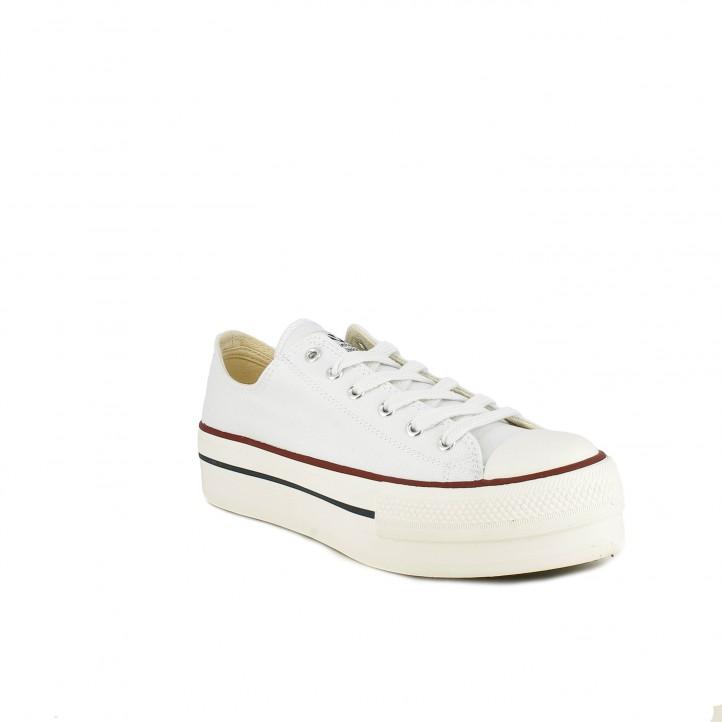 Zapatillas lona Victoria blancas bajas con plataforma y cordones - Querol online