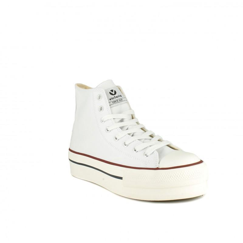 Zapatillas lona Victoria blancas altas con plataforma y cordones