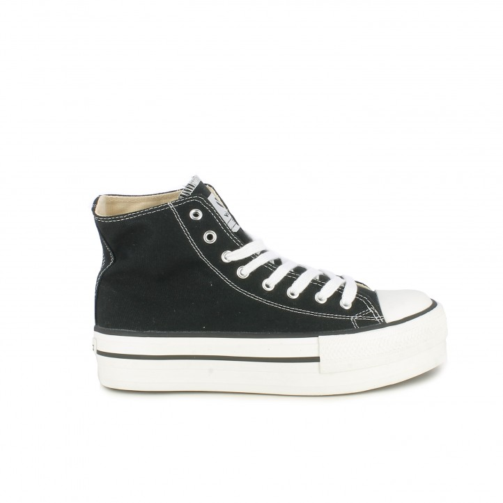Zapatillas lona Victoria negras altas con plataforma y cordones - Querol online
