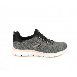 Zapatillas deportivas Skechers jaspeado con cordones elasticos, plantilla memory foam - Querol online