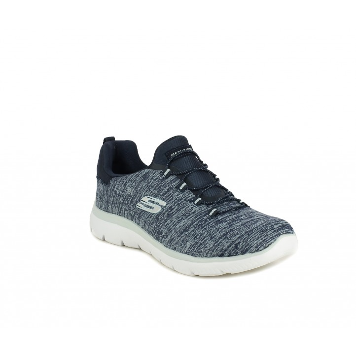 Zapatillas deportivas Skechers jaspeado con cordones elasticos plantilla memory foam - Querol online