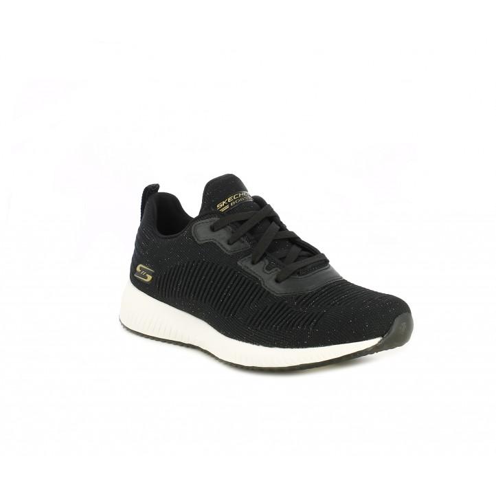 Zapatillas deportivas Skechers negras con un toque brillante, plantillas memory foam - Querol online