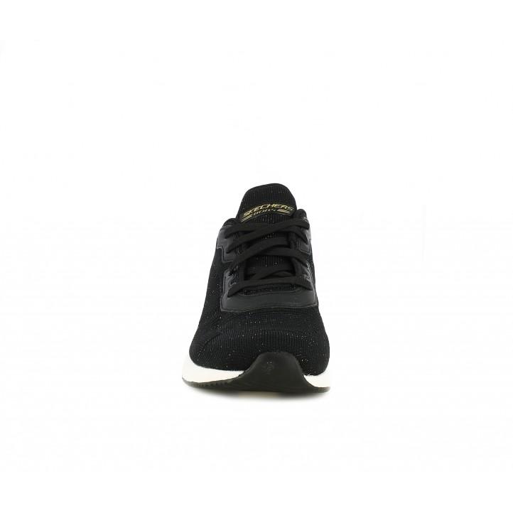 Sabatilles esportives Skechers negres amb un toc brillant i plantilles memory foam - Querol online