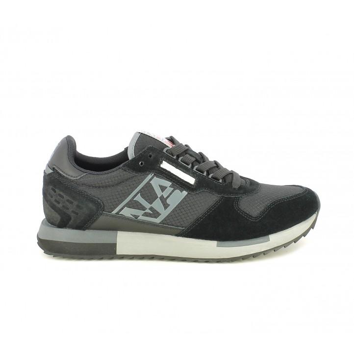 Zapatillas deportivas Napapijri negras de diferentes texturas y detalles en gris - Querol online