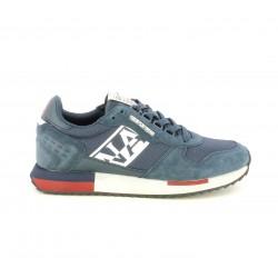 Zapatillas deportivas Napapijri azules de diferentes texturas y detalles en rojo - Querol online