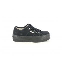 Zapatillas lona Victoria negras con cordones y plataforma