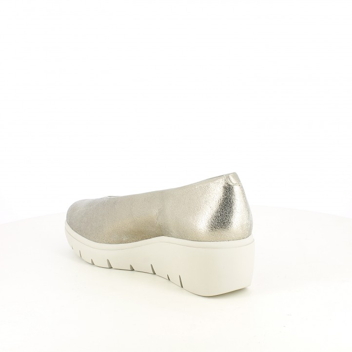Cuñas Suite009 marrones metalizadas de piel - Querol online