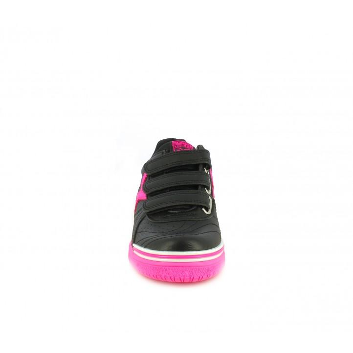 Sabatilles esport MUNICH negres amb sola rosa fluorescent - Querol online