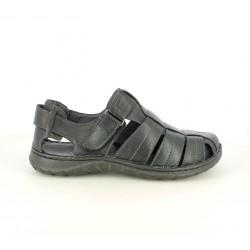 Sandalias Walk & Fly negras de piel cerradas con velcro - Querol online