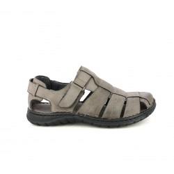 Sandalias Walk & Fly marrones de piel cerradas con velcro - Querol online