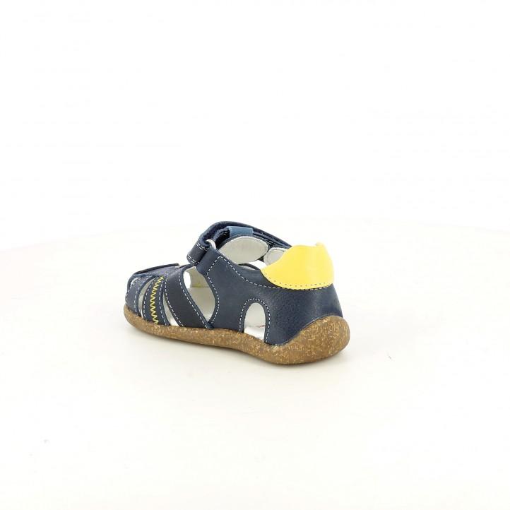 sandalias Pablosky cerradas azules y amarillas con velcro - Querol online