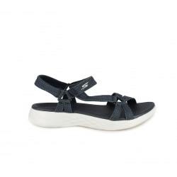 Sandalias planas Skechers azules con tiras y velcro - Querol online
