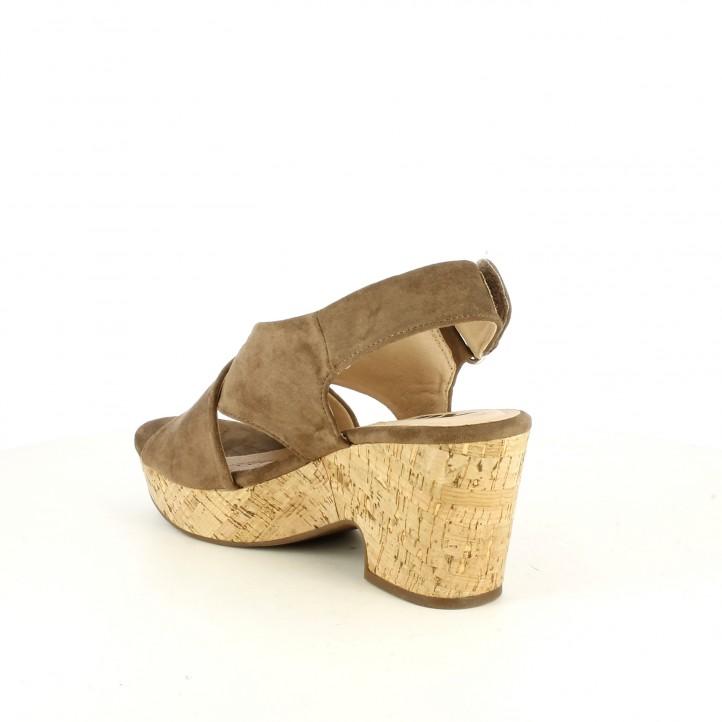 Sandalias tacón Xti taupe de tiras y velcro - Querol online