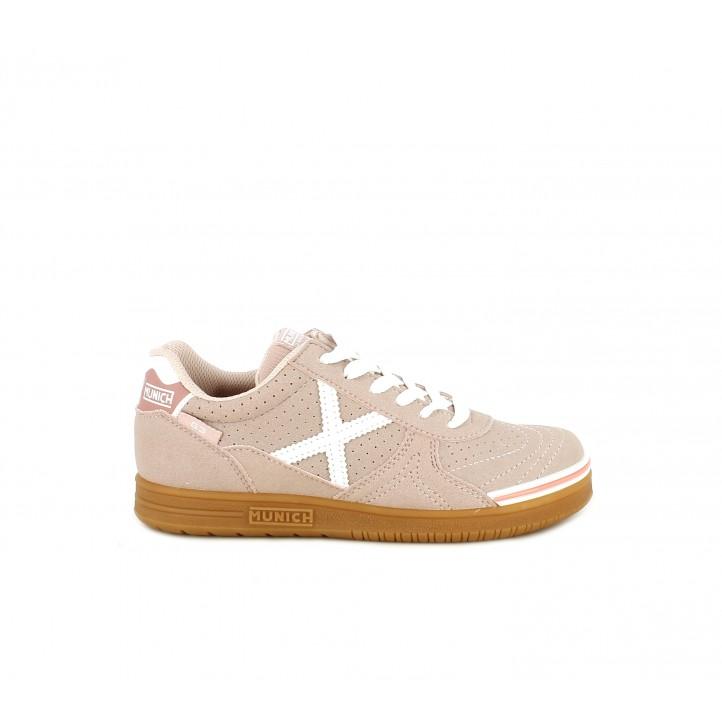 Zapatillas deporte MUNICH rosas con suela marrón - Querol online