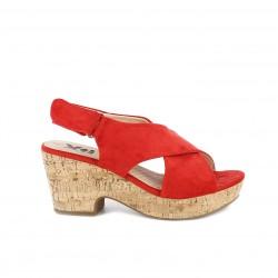 Sandalias tacón Xti rojas de tiras y velcro - Querol online