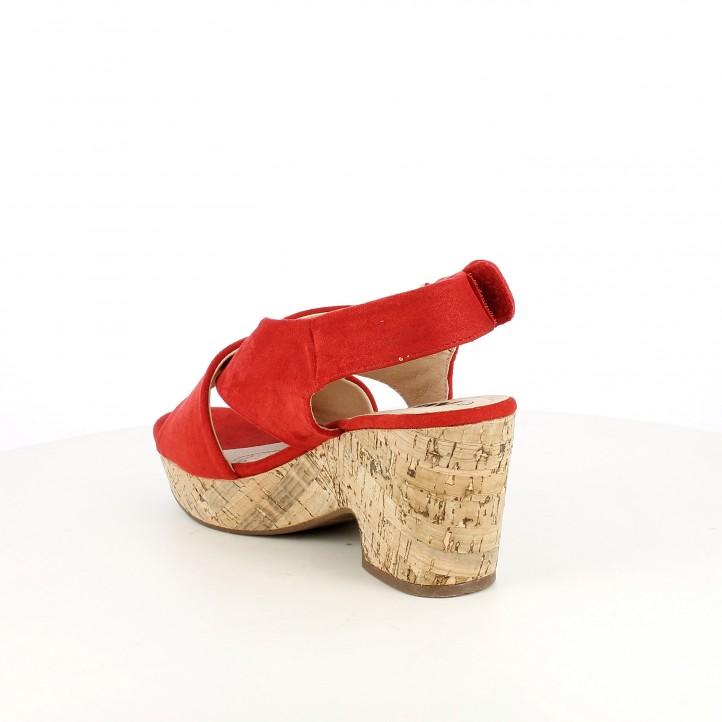 Sandàlies taló Xti vermelles de tires i velcro - Querol online
