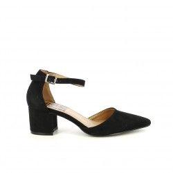 Zapatos tacón Refresh negras de punta con hebilla en el tobillo - Querol online