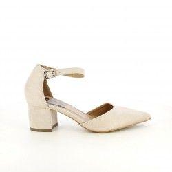 Zapatos tacón Refresh rosas de punta con hebilla en el tobillo - Querol online