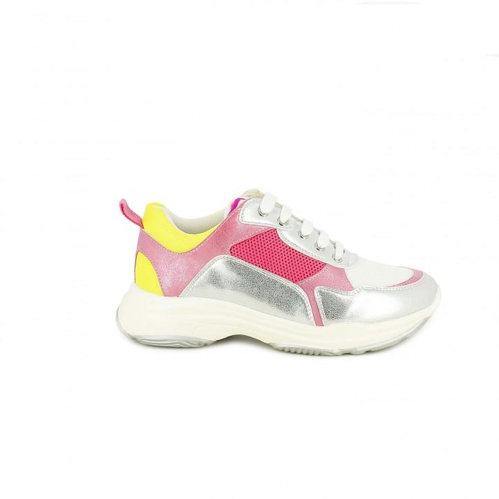 Zapatillas deporte QUETS! grises y rosas con cordones - Querol online