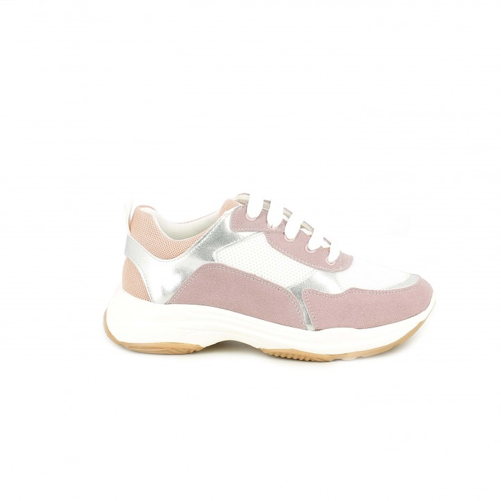 Zapatillas deporte QUETS! blancas y lilas con cordones - Querol online