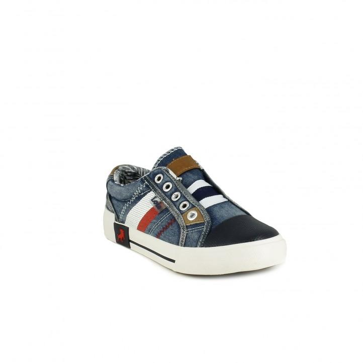 Zapatillas lona Lois azules tejano de cordones - Querol online