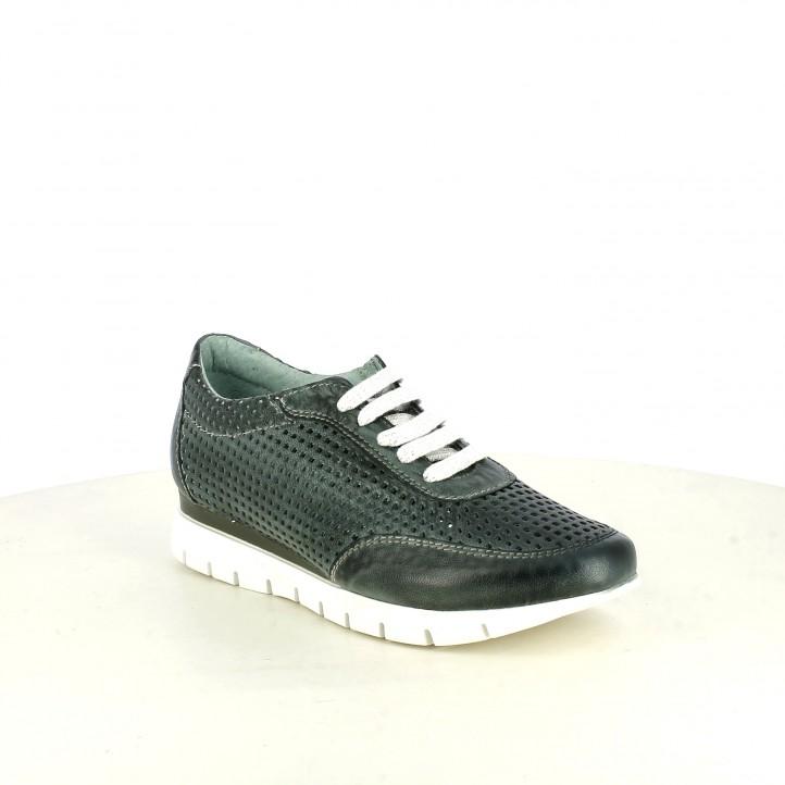 Zapatos planos Suite009 azules con orificios y cordones - Querol online