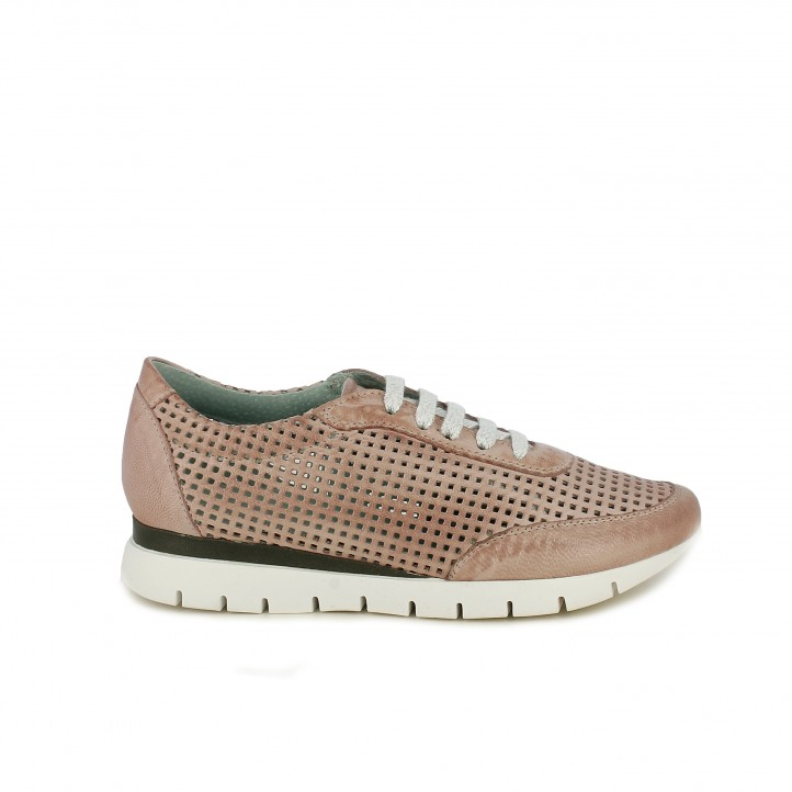 Zapatos planos Suite009 rosas con orificios y cordones - Querol online