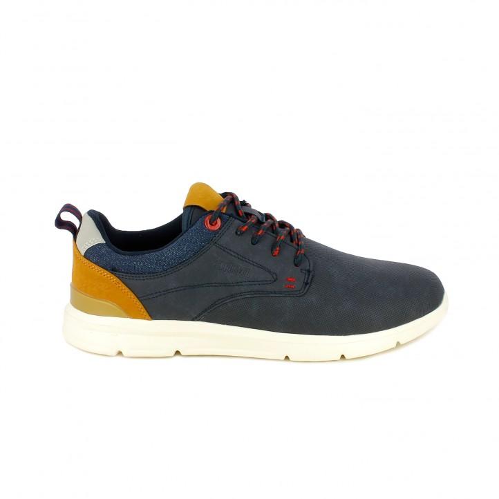 Zapatos sport Mustang azules de cordones con detalles marrones - Querol online